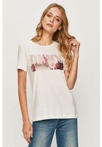 Biała bluzka DKNY casualowa, z nadrukiem