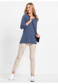 Shirt z długim rękawem bonprix niebieski indygo. Kolor: niebieski. Długość rękawa: długi rękaw. Długość: długie