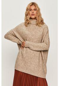 Kremowy sweter Sportmax Code długi, z golfem, z długim rękawem