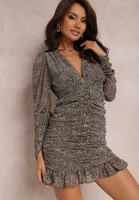Renee - Czarno-Beżowa Sukienka Peirose. Kolor: czarny. Materiał: tkanina. Długość rękawa: długi rękaw. Wzór: aplikacja. Styl: wizytowy. Długość: mini
