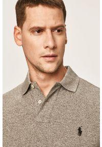 Szara koszulka z długim rękawem Polo Ralph Lauren polo, melanż, krótka