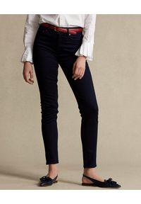 Ralph Lauren - RALPH LAUREN - Granatowe jeansy Skinny. Stan: podwyższony. Kolor: niebieski. Wzór: aplikacja