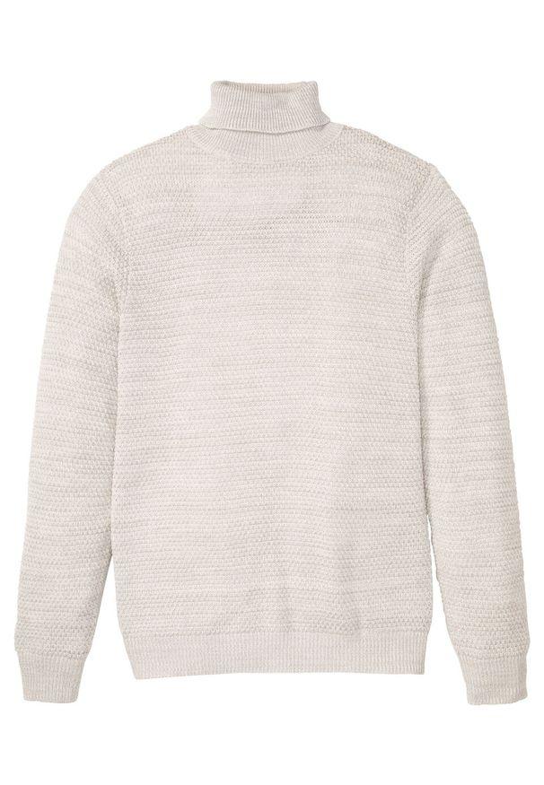 Biały sweter bonprix melanż, z golfem