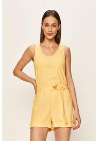 Żółty kombinezon Vero Moda na co dzień, na ramiączkach, krótki, casualowy