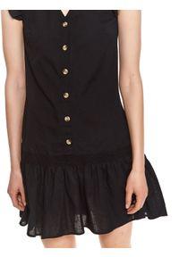 TOP SECRET - Mini sukienka z falbanami. Kolor: czarny. Typ sukienki: koszulowe. Długość: mini