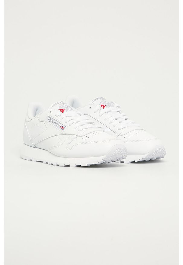 Białe sneakersy Reebok Classic Reebok Classic, na sznurówki, z okrągłym noskiem