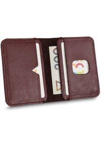 Solier - Cienki skórzany męski portfel SOLIER SW11 SLIM bordowy. Kolor: czerwony. Materiał: skóra