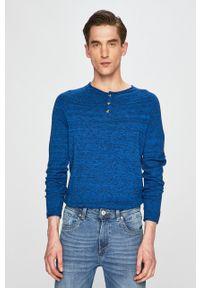 Niebieski sweter medicine krótki, z okrągłym kołnierzem