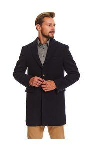 TOP SECRET - Płaszcz klasyczny z wełnianej tkaniny. Okazja: na co dzień, do pracy. Kolor: niebieski. Materiał: wełna, tkanina. Wzór: aplikacja. Sezon: zima. Styl: klasyczny