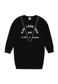 Czarna sukienka Karl Lagerfeld klasyczna, z włoskim kołnierzykiem