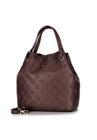 Brązowa torebka worek Wittchen z tłoczeniem, elegancka, w kolorowe wzory #7