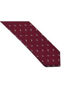 Adam Collection - Bordowy krawat męski w bociany D259. Kolor: czerwony. Materiał: tkanina, mikrofibra