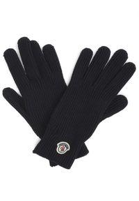 MONCLER - Granatowe rękawiczki z logo. Kolor: niebieski. Materiał: wełna, puch. Wzór: aplikacja. Styl: klasyczny
