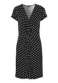 Czarna sukienka mini Happy Holly z krótkim rękawem, w kropki, z dekoltem w serek