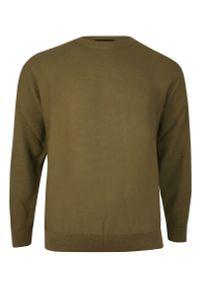 Zielony sweter Kings klasyczny, z klasycznym kołnierzykiem, na zimę