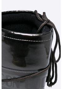 Czarne śniegowce Moon Boot na średnim obcasie, z okrągłym noskiem, na sznurówki, na obcasie