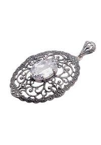 Polcarat Design - Srebro cyrkonia wisiorek W 996. Materiał: srebrne. Wzór: aplikacja. Kamień szlachetny: cyrkonia