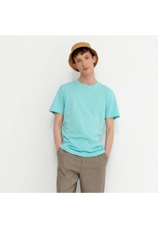 House - T-shirt z bawełny organicznej basic - Turkusowy. Kolor: turkusowy. Materiał: bawełna
