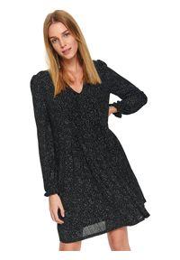 Czarna sukienka TOP SECRET w kropki, mini
