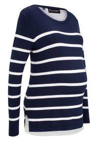 Niebieski sweter bonprix długi, z długim rękawem, moda ciążowa, w paski