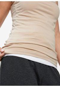 Top na cienkich ramiączkach (2 szt.) bonprix cielisty + biały. Kolor: biały. Długość rękawa: na ramiączkach