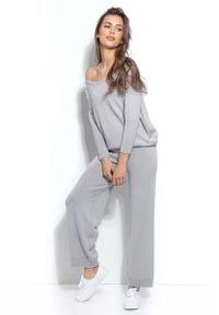 Fobya - Dzianinowy Szary Komplet Oversizowa Bluza + Spodnie. Kolor: szary. Materiał: dzianina