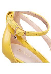 Żółte półbuty sagan eleganckie, z cholewką
