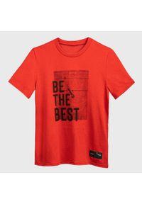 TARMAK - Koszulka koszykarska dla dzieci Tarmak TS500 BE THE BEST. Kolor: czerwony. Materiał: poliester, materiał. Sport: koszykówka