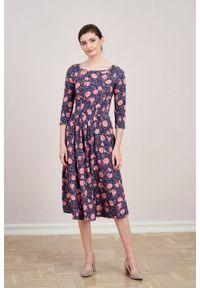 Marie Zélie - Sukienka Emelina Vigenna. Materiał: guma, dzianina, materiał, wiskoza, elastan, tkanina. Styl: klasyczny. Długość: midi
