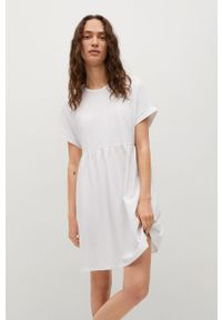 mango - Mango - Sukienka GISELE1. Kolor: biały. Materiał: dzianina, bawełna. Długość rękawa: krótki rękaw. Typ sukienki: rozkloszowane