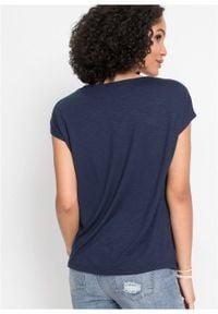 Shirt z koronką bonprix ciemnoniebieski. Kolor: niebieski. Materiał: koronka. Wzór: koronka