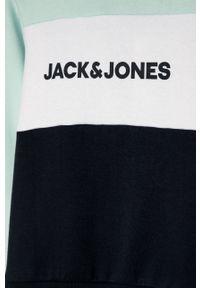 Turkusowa bluza Jack & Jones z kapturem, casualowa, na co dzień, z nadrukiem