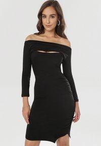 Born2be - Czarna Sukienka Diomala. Okazja: na imprezę. Kolor: czarny. Typ sukienki: asymetryczne, dopasowane. Długość: midi