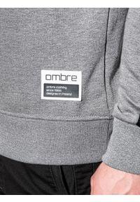 Ombre Clothing - Bluza męska bez kaptura B1081 - szary melanż - XXL. Typ kołnierza: bez kaptura. Kolor: szary. Materiał: poliester, bawełna. Wzór: melanż