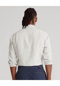 Ralph Lauren - RALPH LAUREN - Lniana koszula Slim Fit. Typ kołnierza: polo. Kolor: szary. Materiał: len. Długość rękawa: długi rękaw. Długość: długie. Wzór: haft #4