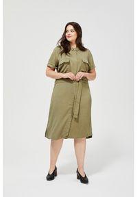 Zielona sukienka MOODO casualowa, szmizjerki, do pracy