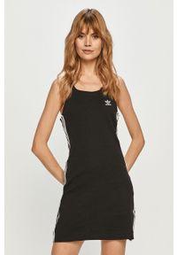 Czarna sukienka adidas Originals prosta, mini, na ramiączkach, casualowa