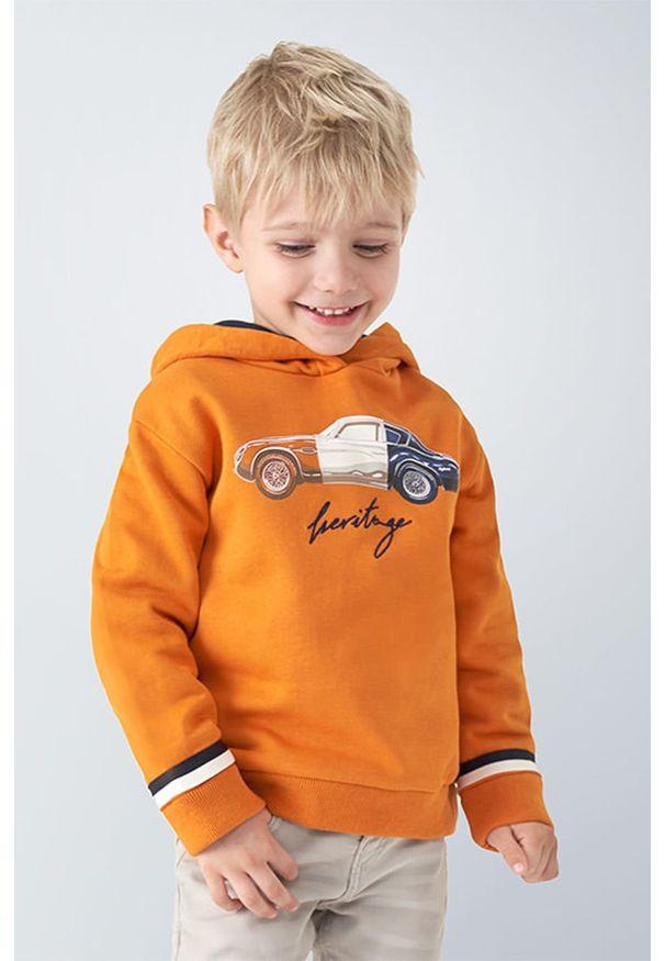 Pomarańczowa bluza Mayoral z nadrukiem, z kapturem, na co dzień