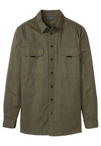 """Koszula z długim rękawem, Slim Fit bonprix ciemnooliwkowy """"used"""". Kolor: zielony. Długość rękawa: długi rękaw. Długość: długie"""