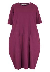 Sukienka bawełniana oversize, rękawy 1/2 bonprix jeżynowy. Kolor: fioletowy. Materiał: bawełna. Typ sukienki: oversize