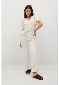 mango - Mango - T-shirt Bella. Kolor: biały. Materiał: materiał