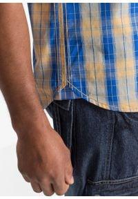Koszula z krótkim rękawem bonprix żółto-niebieski w kratę. Kolor: żółty. Długość rękawa: krótki rękaw. Długość: krótkie