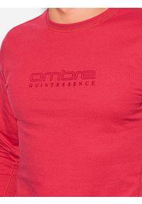 Ombre Clothing - Bluza męska bez kaptura z nadrukiem B1160 - czerwona - XXL. Typ kołnierza: bez kaptura. Kolor: czerwony. Materiał: poliester, bawełna. Wzór: nadruk