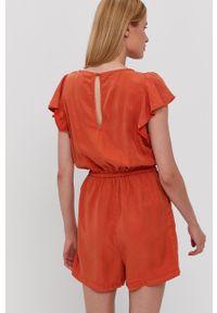 Vila - Kombinezon. Okazja: na co dzień. Kolor: pomarańczowy. Materiał: tkanina. Długość rękawa: krótki rękaw. Długość: krótkie. Wzór: gładki. Styl: casual