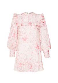 Różowa sukienka LoveShackFancy prosta, z falbankami, z aplikacjami