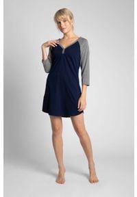 MOE - Dwukolorowa Koszula Nocna z Bawełny - Granatowa. Kolor: niebieski. Materiał: bawełna