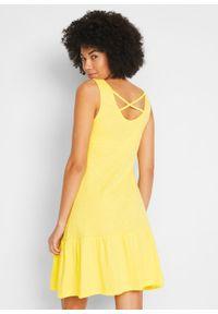 Sukienka z dżerseju z falbanami i ozdobnym tyłem bonprix jasna limonka. Kolor: żółty. Materiał: jersey