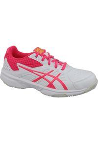 Białe buty sportowe Asics tenisowe, z cholewką, w kolorowe wzory