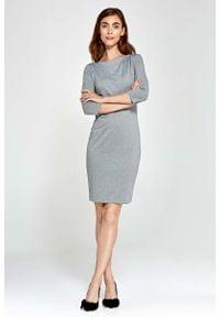 Nife - Szara Sukienka Ołówkowa z Asymetrycznym Drapowaniem. Kolor: szary. Materiał: poliester, wiskoza, nylon. Typ sukienki: asymetryczne, ołówkowe