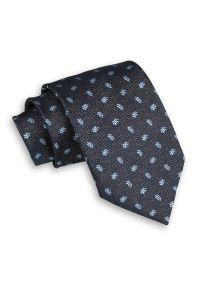Popielaty Męski Krawat -Chattier- 8cm, Klasyczny, Szeroki, Elegancki, Niebieski Wzór Paisley. Kolor: niebieski. Materiał: tkanina. Wzór: paisley. Styl: klasyczny, elegancki